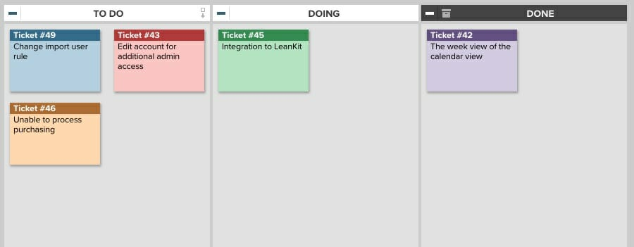 An online Kanban board with a basic, three-step workflow