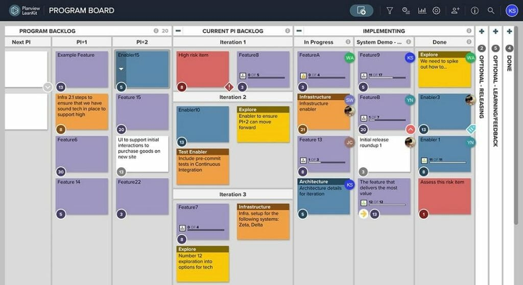 Kanban board software increases delivery speed and program success by implementing Lean-Agile practices across teams.