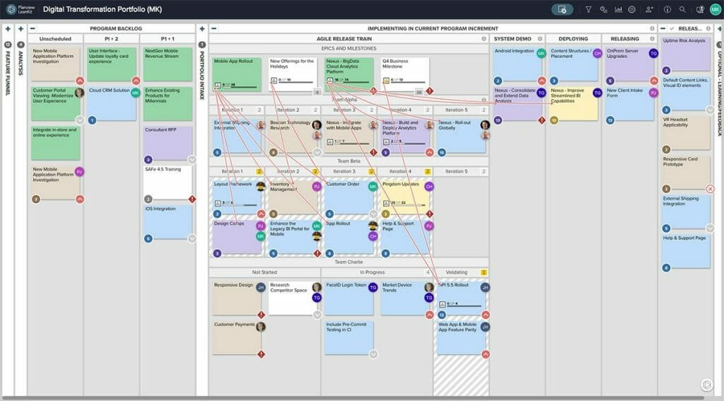 Organizations use Agile methodologies to plan work, coordinate teams, and visualize flow across teams, products, and value streams.