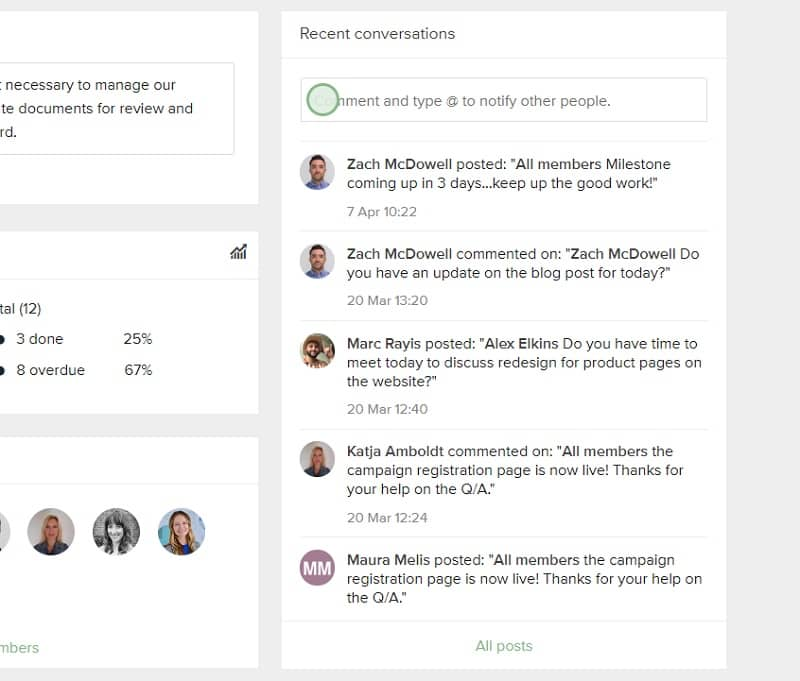 Some project management tools give you the ability to collaborate in context with in-app conversations.