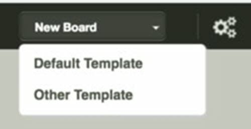 """Click """"New Board"""" and then """"Default Template"""" to start your first board."""